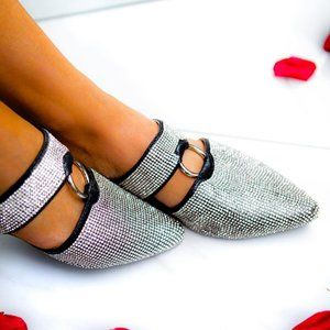 Shoes - NEW Black Pointed Toe Ring Strap Sparkle Mules